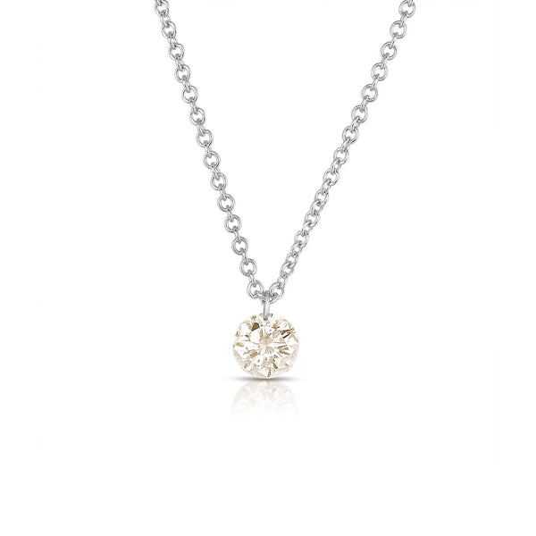 Single Light Brown Diamond Drop Necklace, 14K White Gold