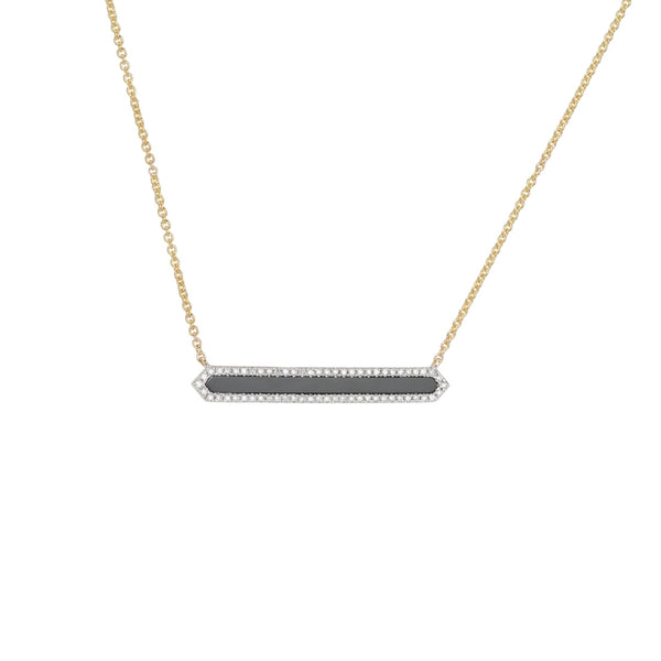 Black Agate and Diamond Bar Necklace, 14K Yellow Gold