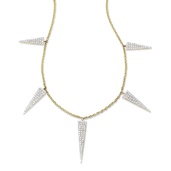 Pavé Diamond Triangle Element Necklace, 14K Yellow Gold