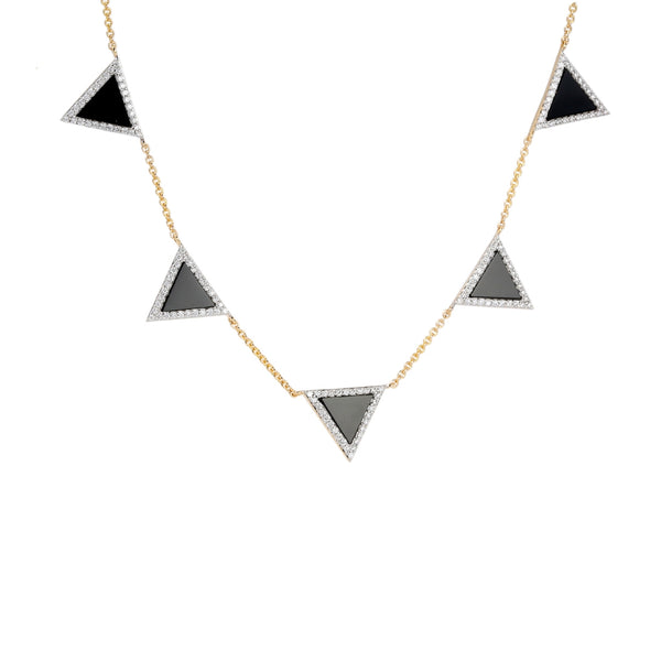 Black Agate and Diamond Triangle Element Necklace, 14K Yellow Gold