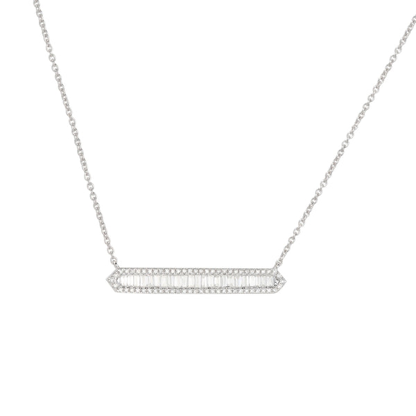 Baguette Diamond Bar Necklace, 14K White Gold