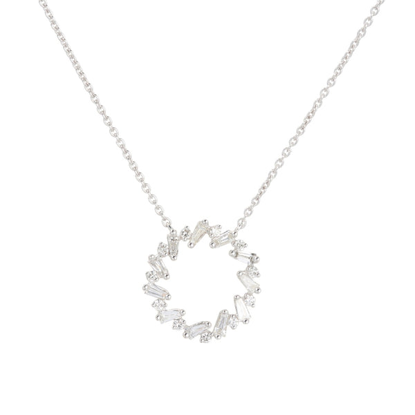 Baguette Diamond Open Circle Necklace, 14K White Gold