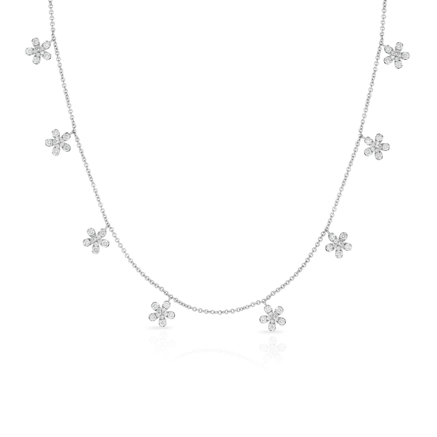Dangling Diamond Flowers Necklace, 14K White Gold
