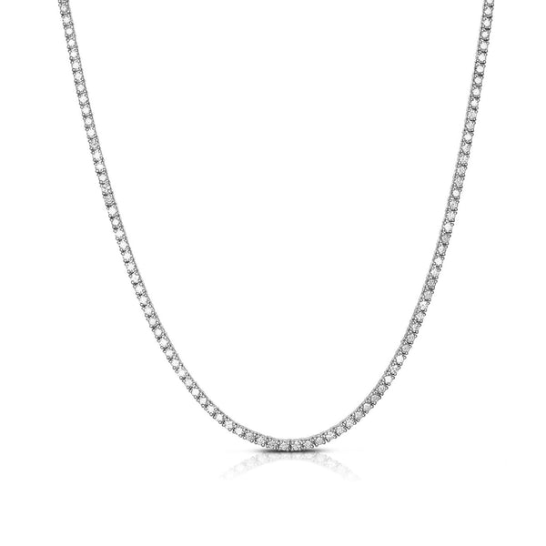 Diamond Tennis Necklace, 6 Carats, 14K White Gold