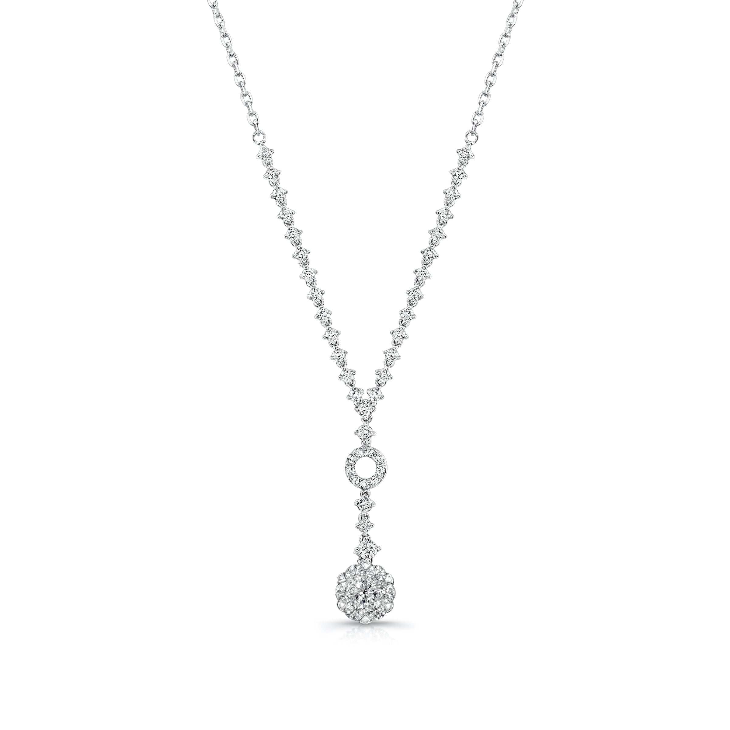 Diamond Cluster Drop Necklace, 14K White Gold