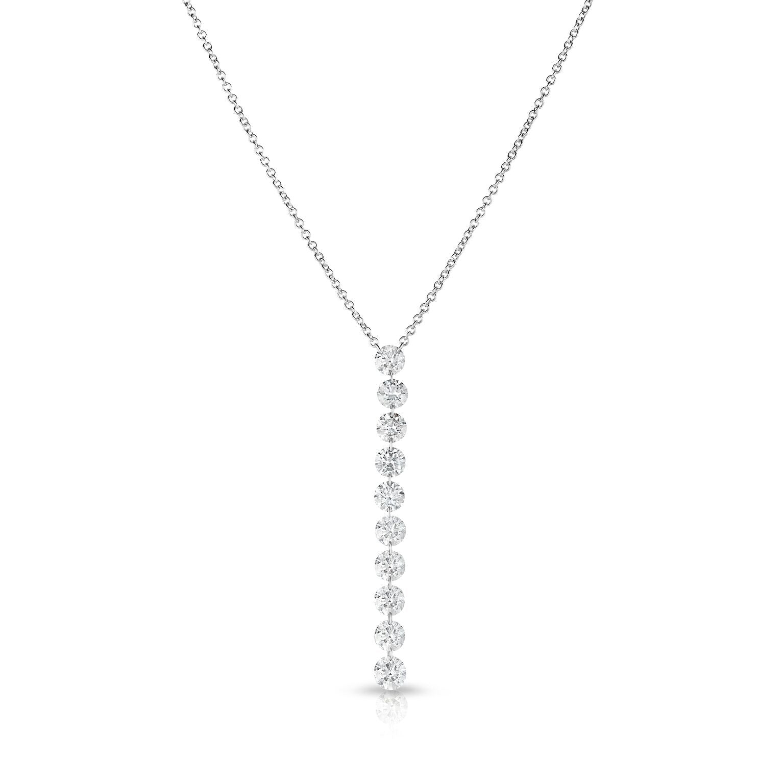 Round Floating Diamond Drop Necklace, 14K White Gold