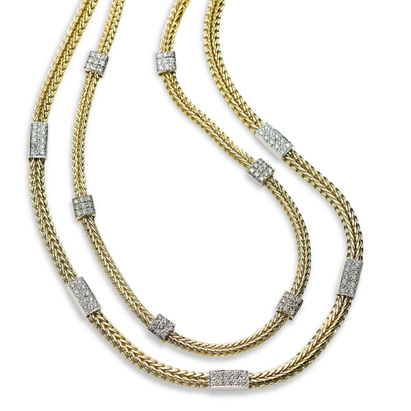 Double Strand Chain Necklace with Diamonds, 14 Karat Gold