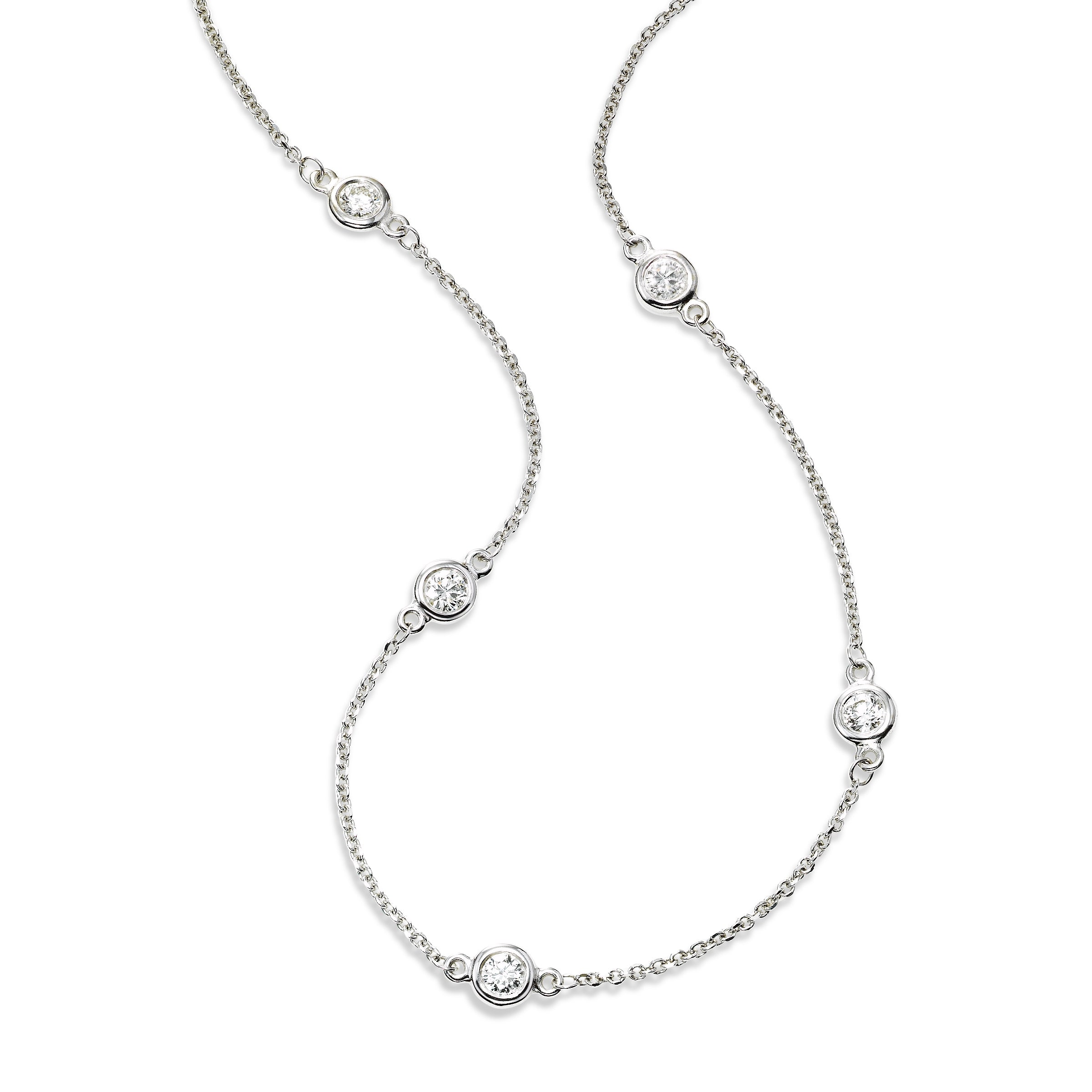 Bezel Set Diamond Station Necklace, 18 Inches, 14K White Gold