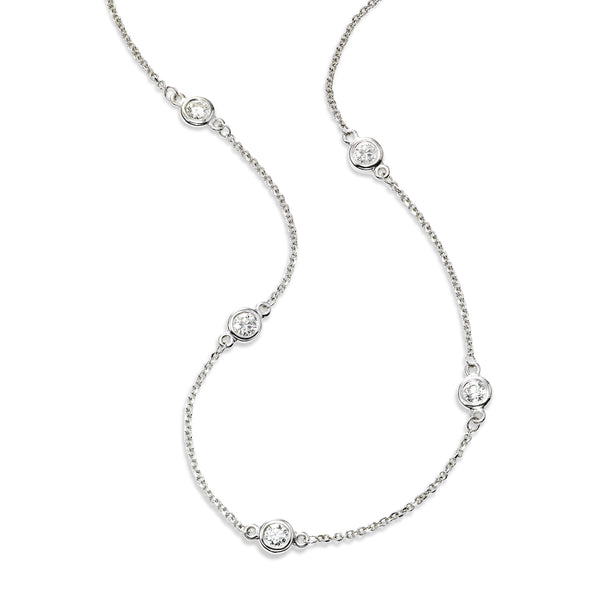Bezel Set Diamond Station Necklace, 36 Inches, 14K White Gold