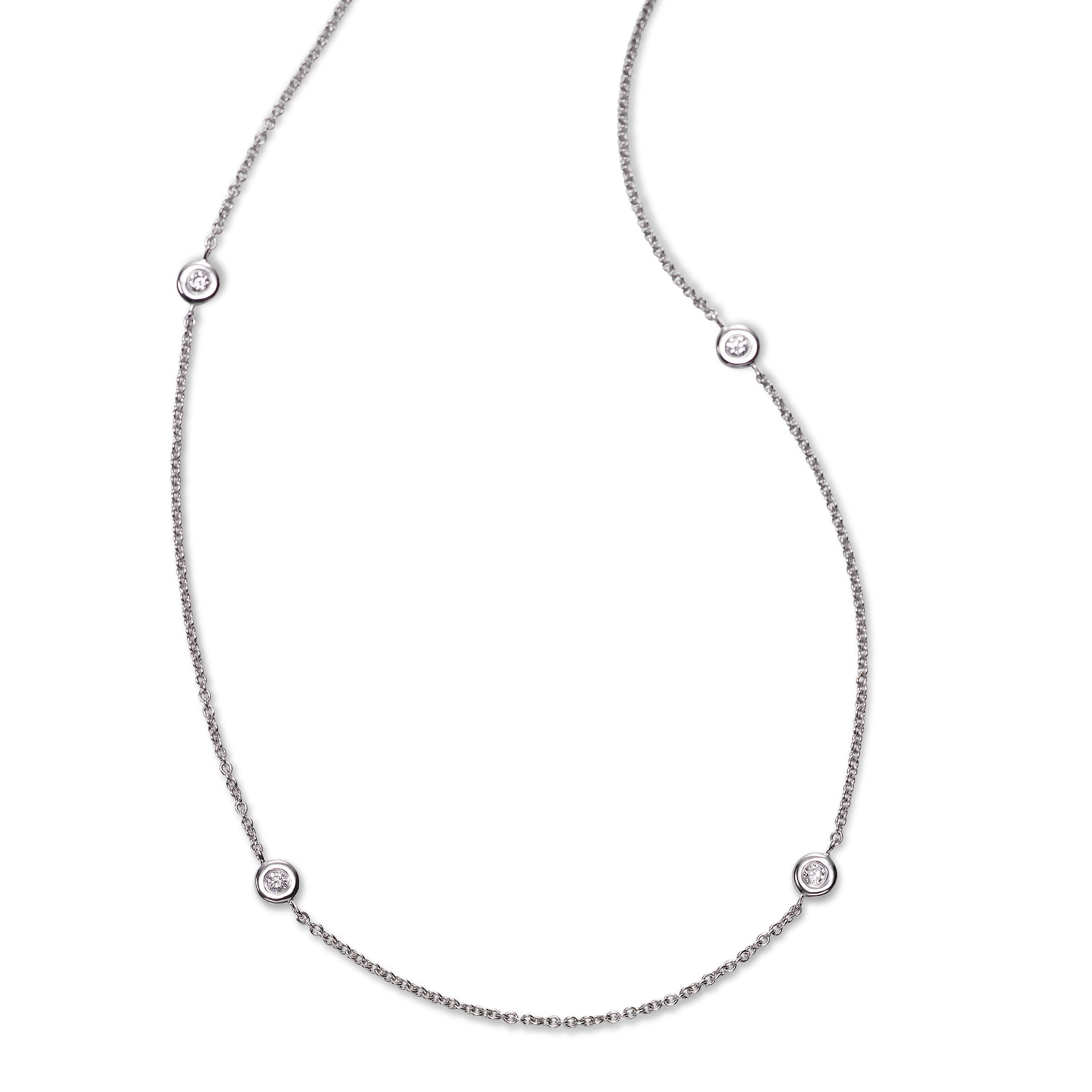 Bezel Diamond Stations Necklace, 18 Inches, 1.50 Carats, 14K White Gold