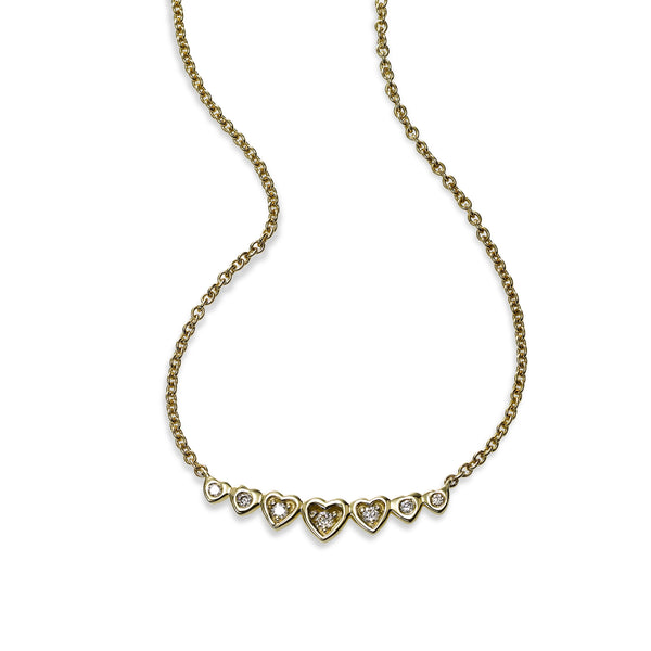 Heart Bar Necklace with Diamond Accent, 14K Yellow Gold