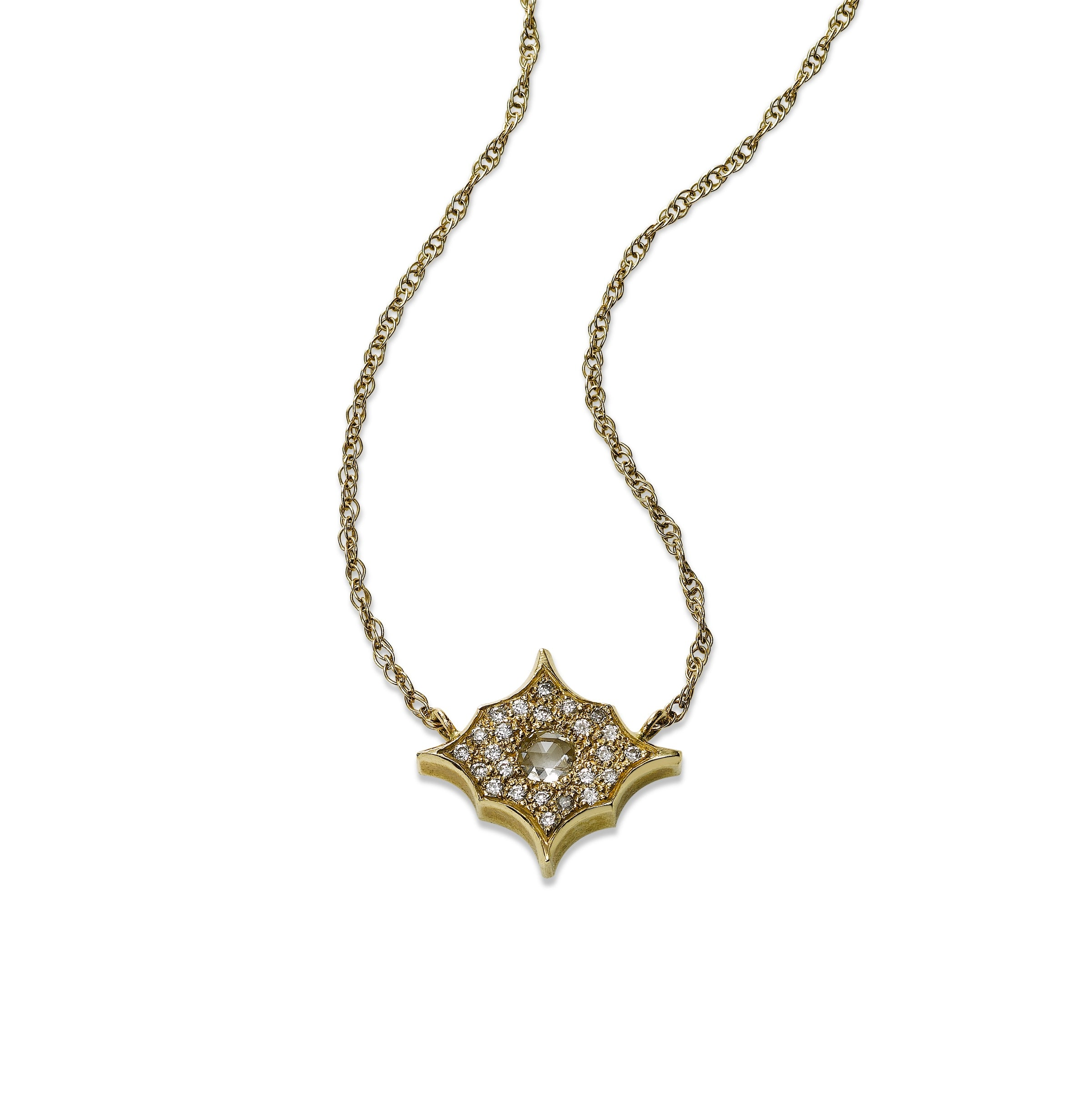 Celestial Design Diamond Necklace, by Just Jules, 14K Yellow Gold
