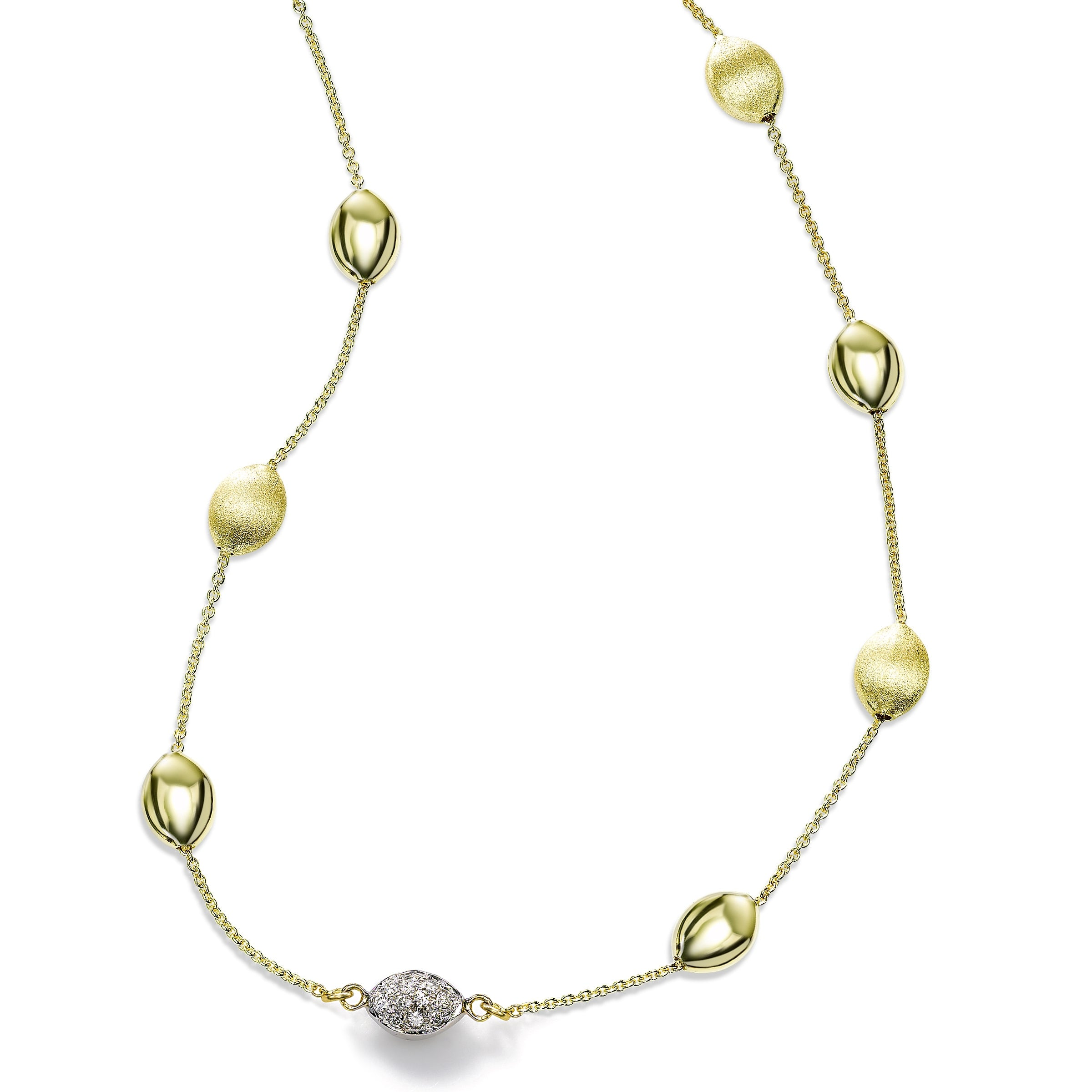 Gold and Diamond Pebble Necklace, 14 Karat Gold