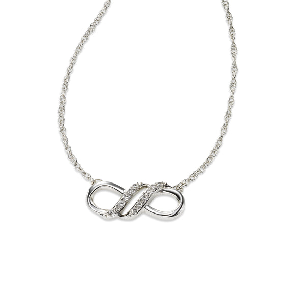 Diamond Infinity Symbol Necklace, 14K White Gold