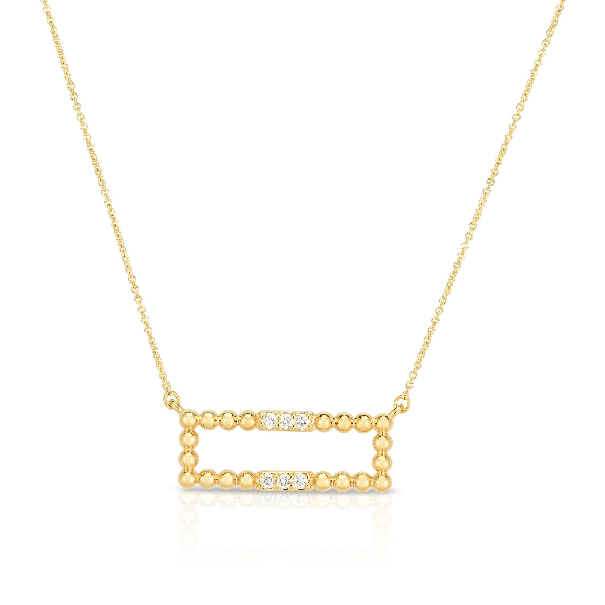 Bead and Diamond Bar Necklace, 14K Yellow Gold