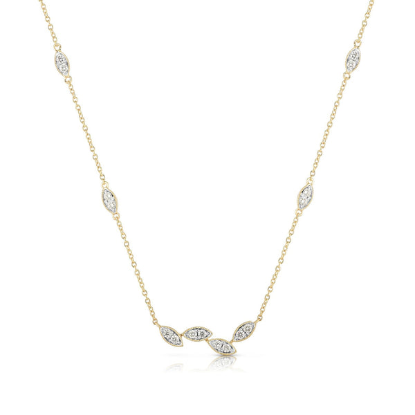 Leaf Shape Diamond Element Necklace, 14K Yellow Gold