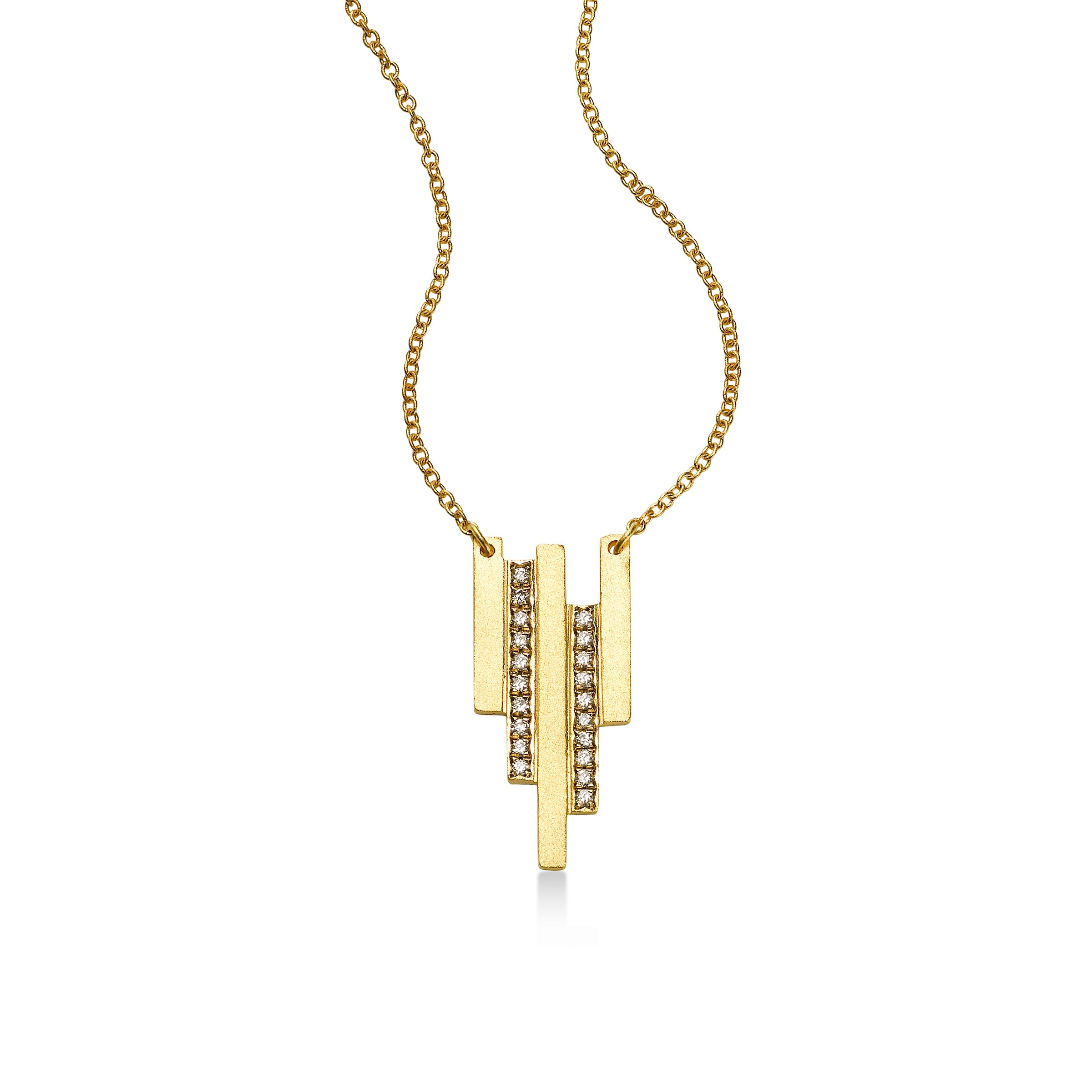 Deco Design Diamond Necklace, 14K Yellow Gold