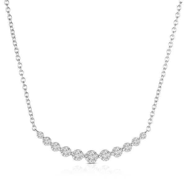 Large Diamond Arc Necklace, 14K White Gold