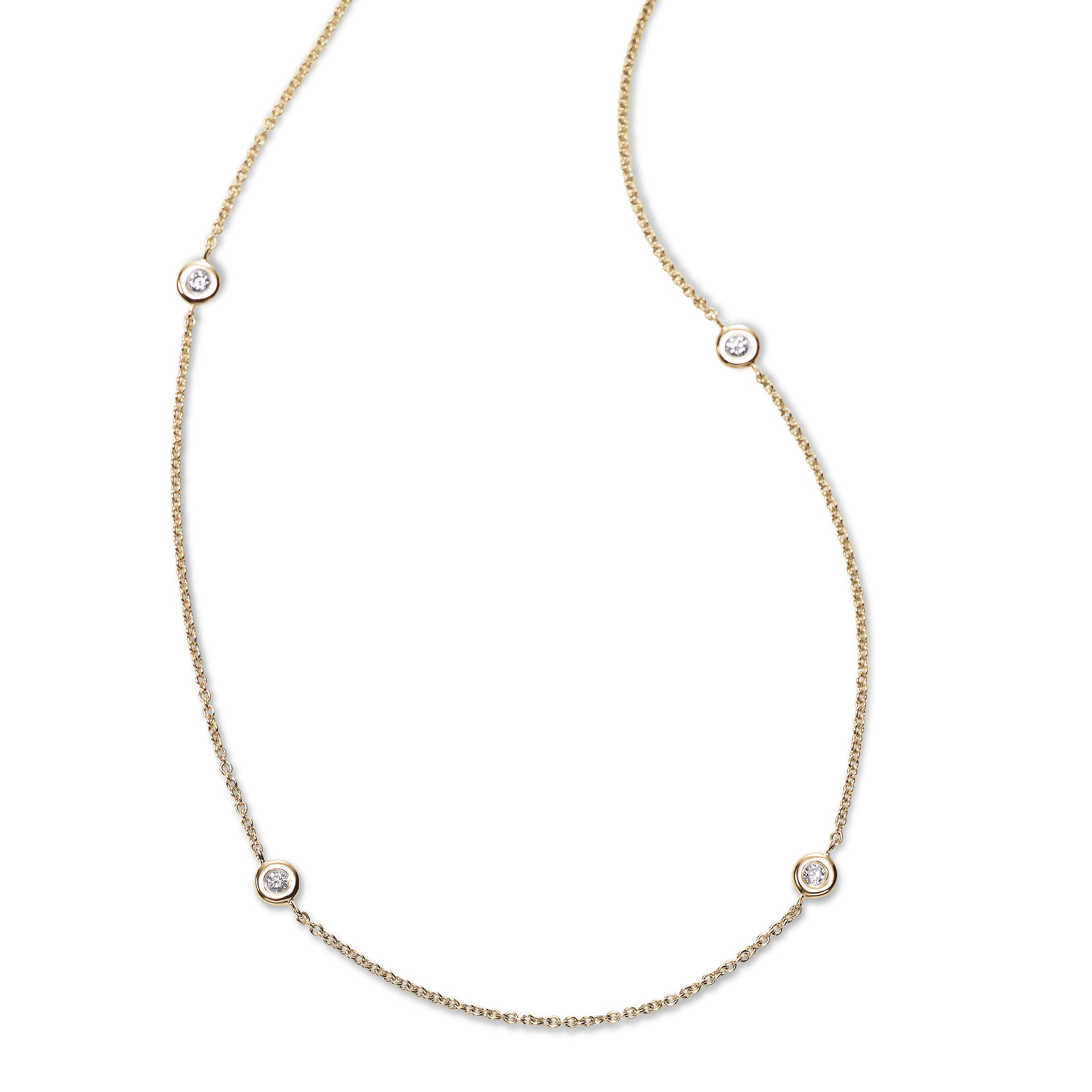 Bezel Set Diamond Necklace, 18 Inches, 14K Yellow Gold