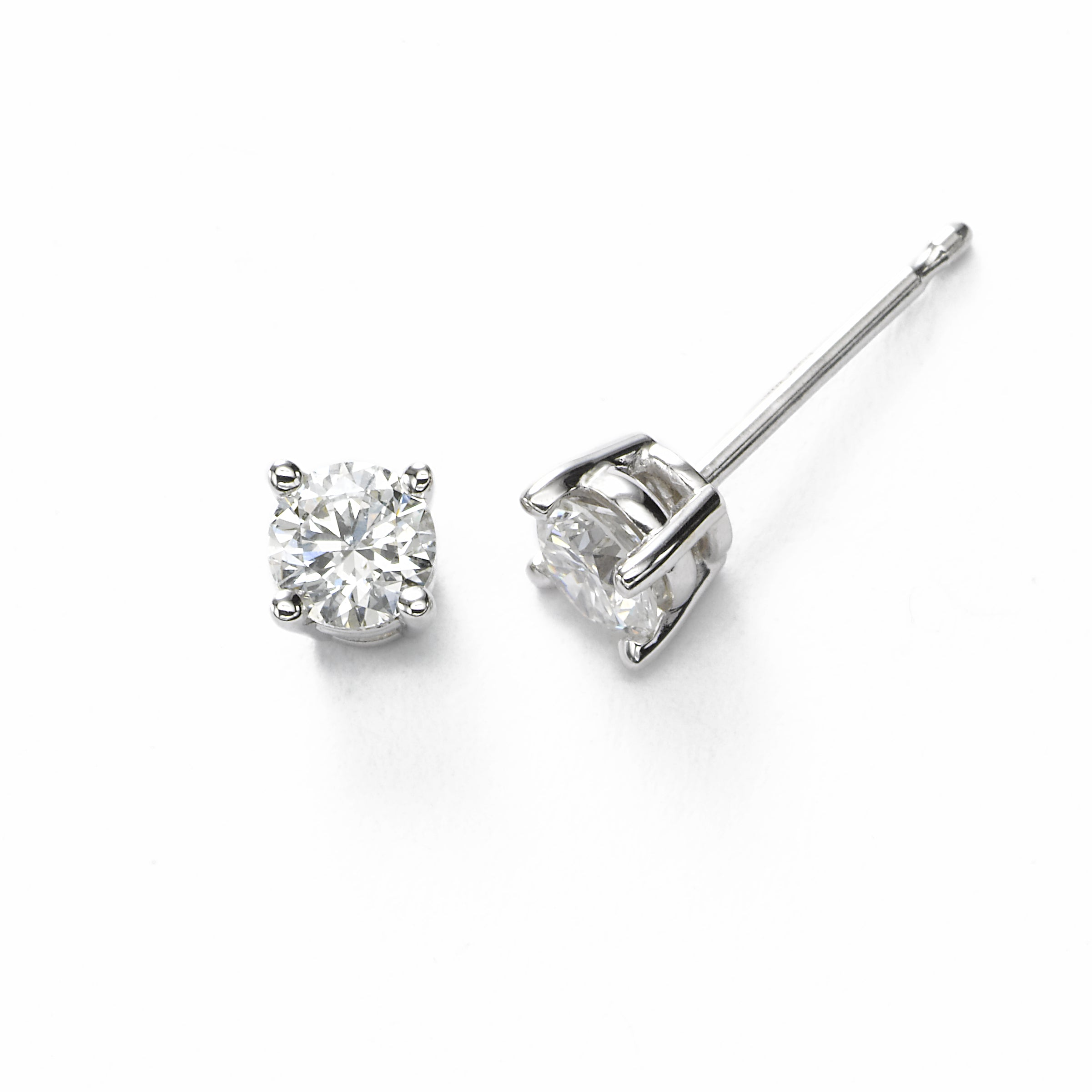 Diamond Stud Earrings, .15 Carat Total, SI2, 14K White Gold
