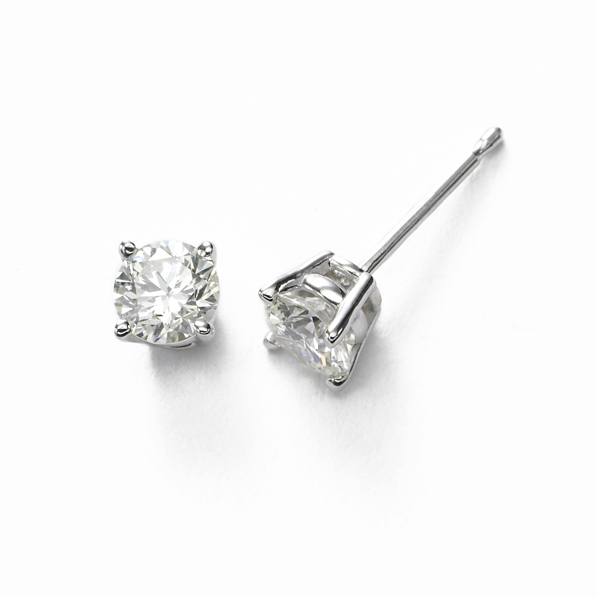 Diamond Stud Earrings, 2 Carats, J/K-VS2/SI1, 14K White Gold