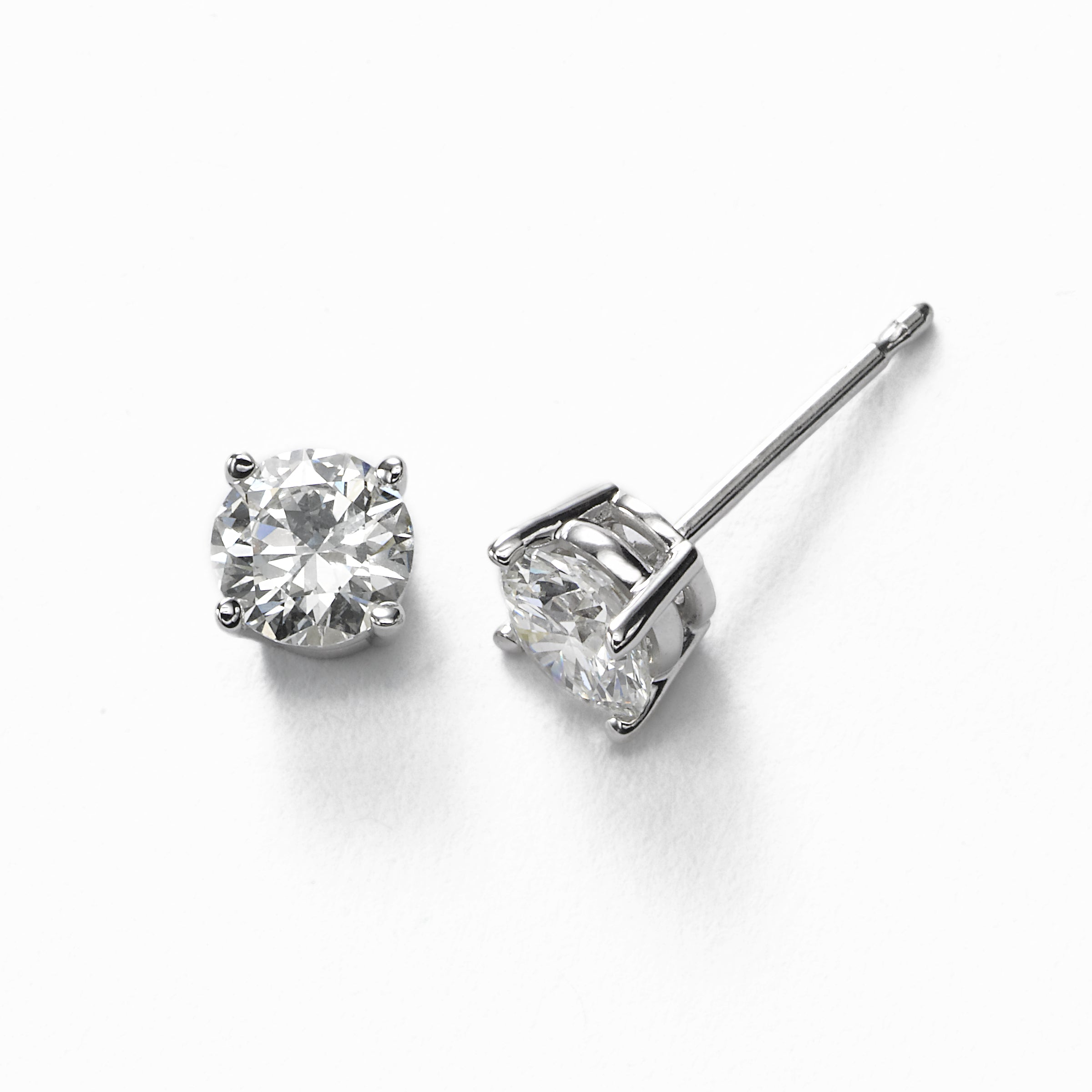 Diamond Stud Earrings, .70 Carat total, H/I-SI2, 14K White Gold