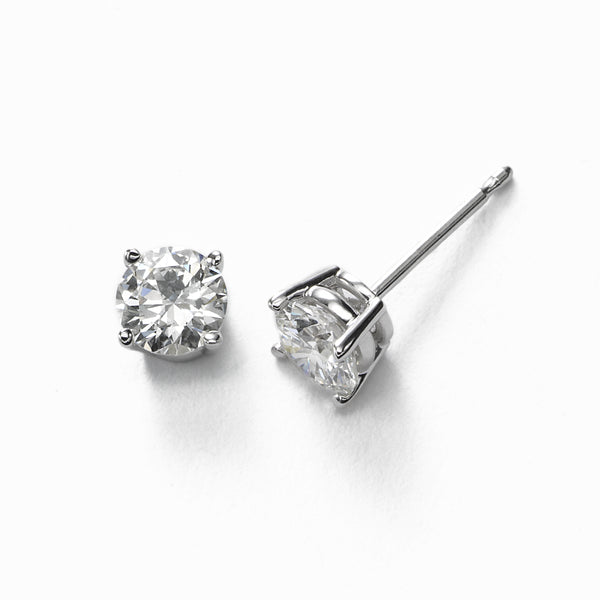 Diamond Stud Earrings, .70 Carat total, H/I-I1, 14K White Gold