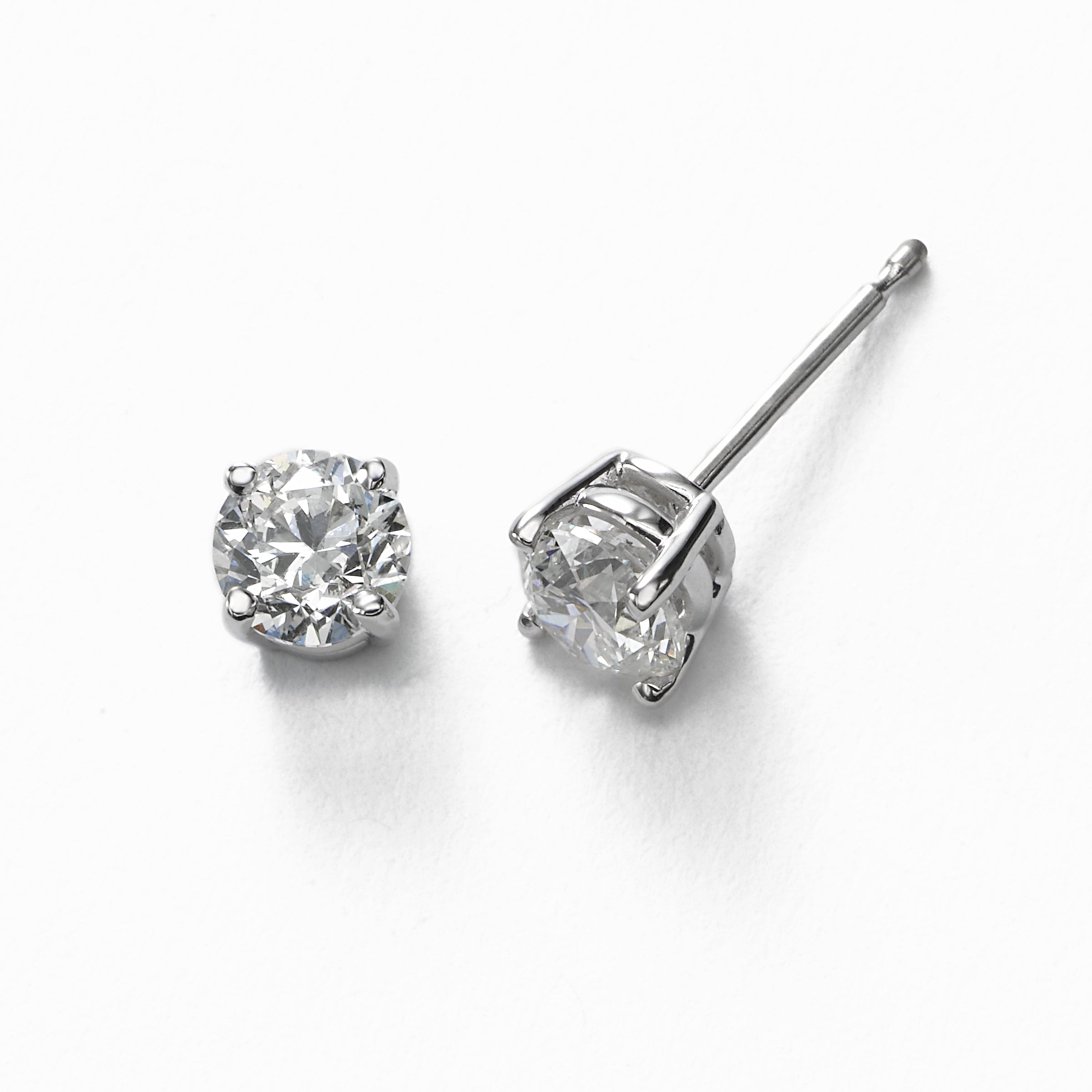 Diamond Stud Earrings, .90 Carat total, H/I-SI2, 14K White Gold