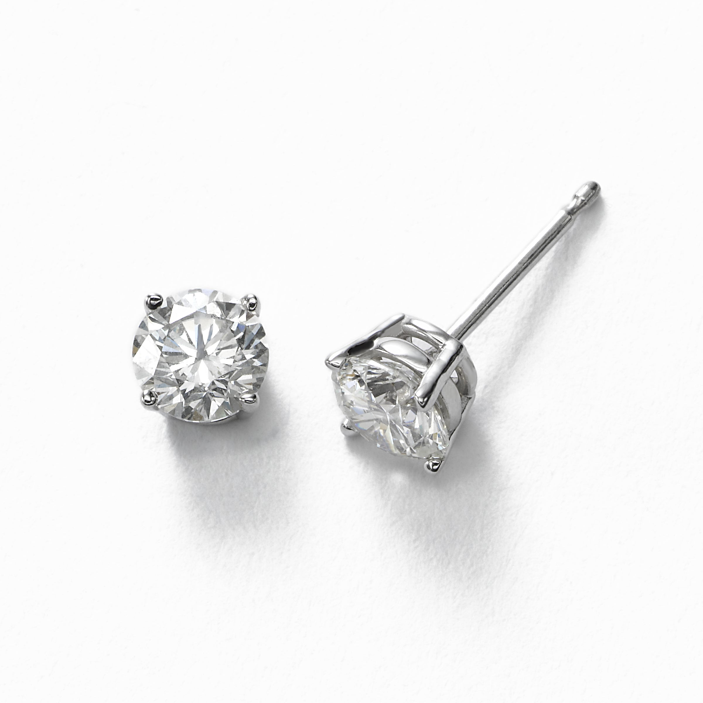 Diamond Stud Earrings, 1.00 Carat total, H/I-SI2, 14K White Gold