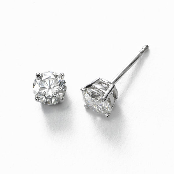 Diamond Stud Earrings, 1.33 Carats total, H/I-SI1/SI2, 14K White Gold