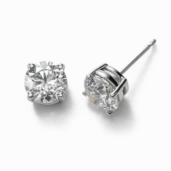 Diamond Stud Earrings, 3 Carats Total, J-SI2, 14K White Gold