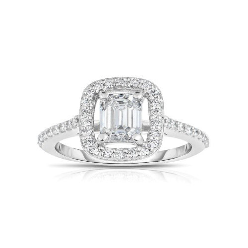 Emerald Cut Diamond Floating Ring, 18K White Gold