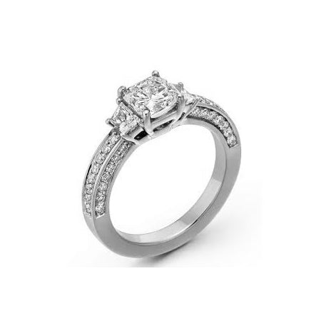 Radiant Cut Diamond Ring, 18K White Gold