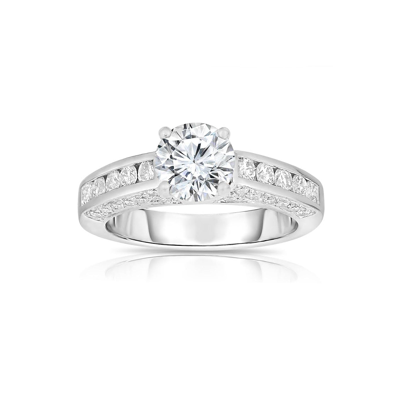 Round Diamond Ring, 18K White Gold