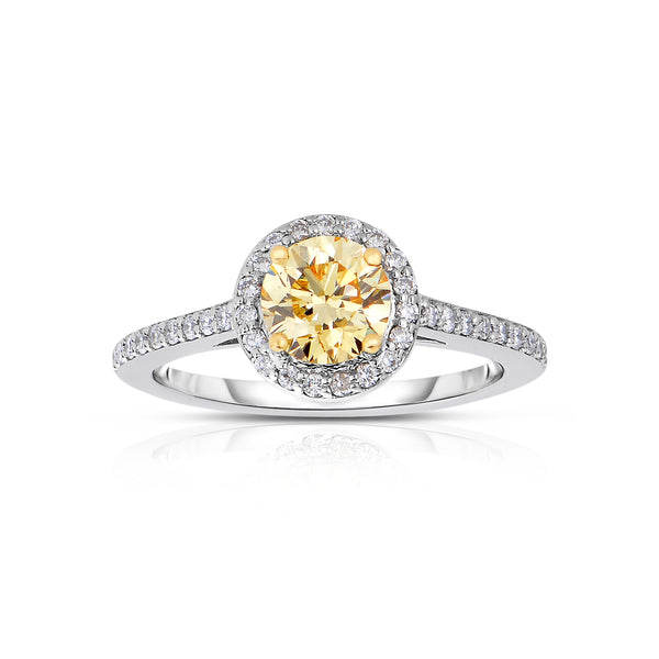 Fancy Champagne Color Diamond Ring with Halo, 18 Karat Gold
