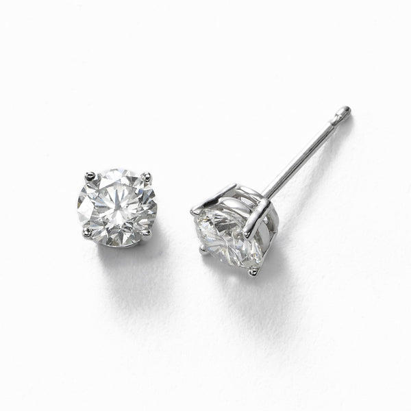 Diamond Stud Earrings, 1 Carat Total, H/I/J-SI2/I1, 14K White Gold