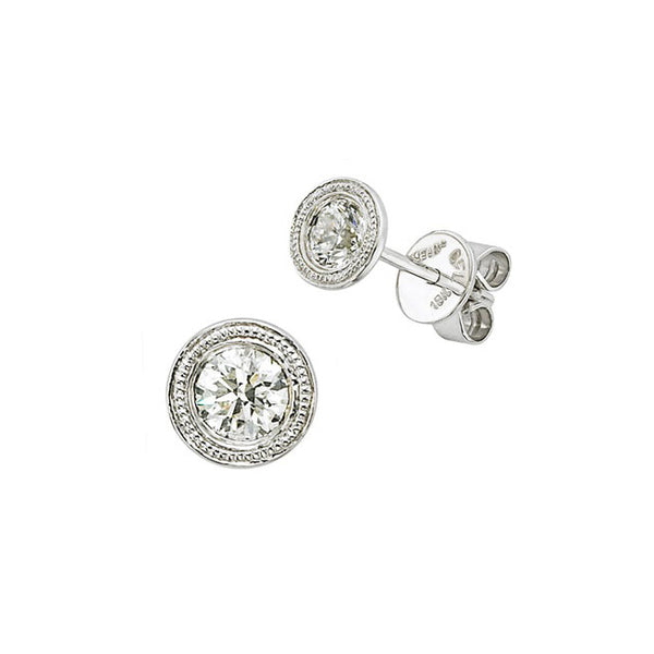 Bezel Set Diamond Stud Earrings, .33 Carat, 14K White Gold