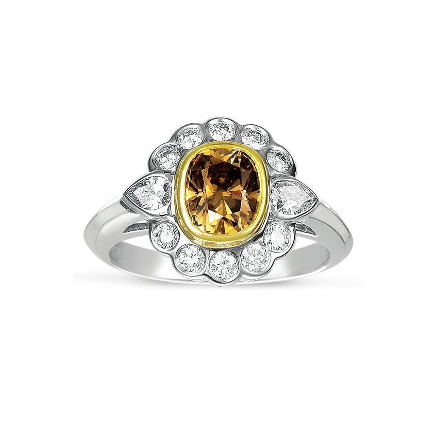 Fancy Brown Diamond Flower Ring, 14 Karat Gold
