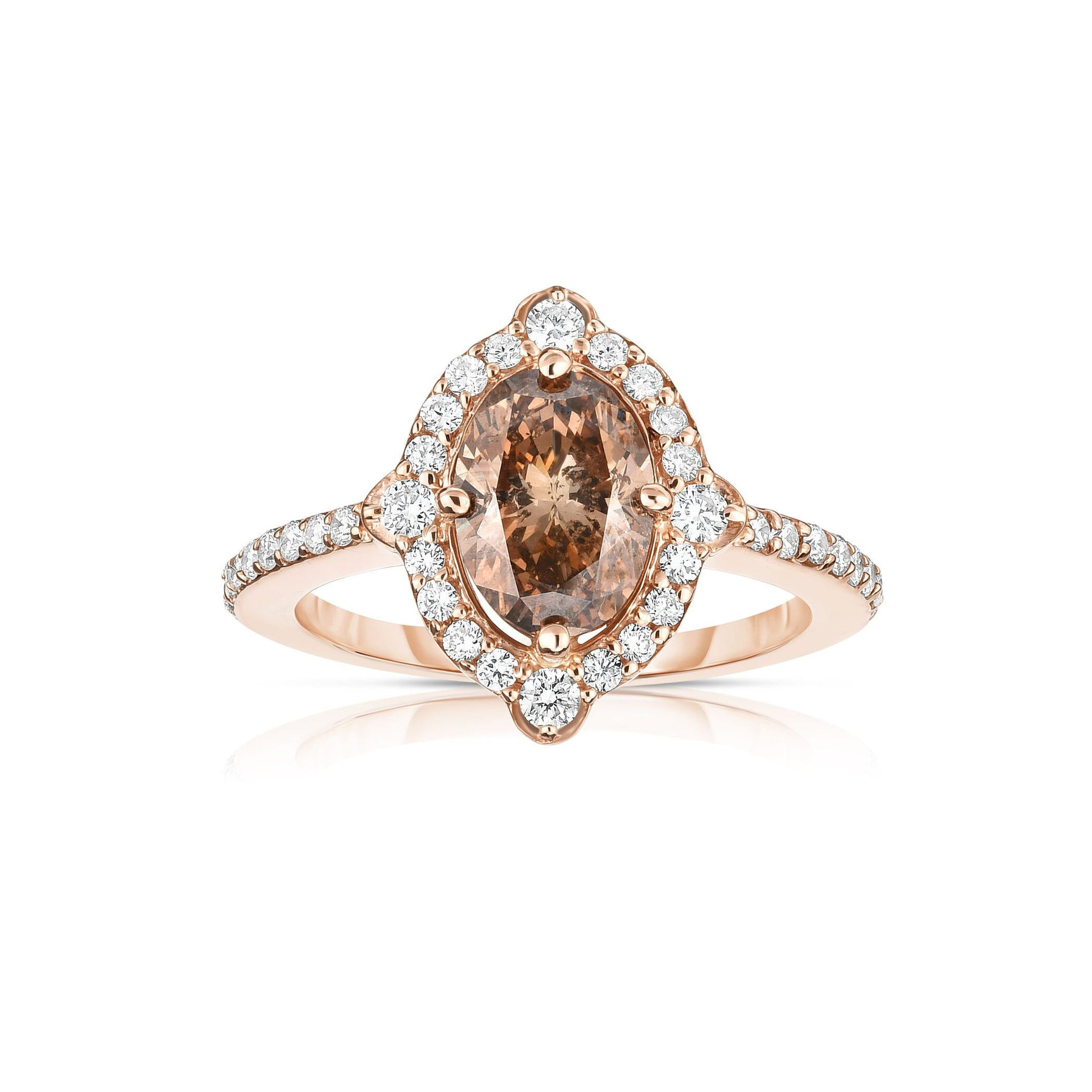 Oval Fancy Brown Diamond Halo Ring, 14K Rose Gold