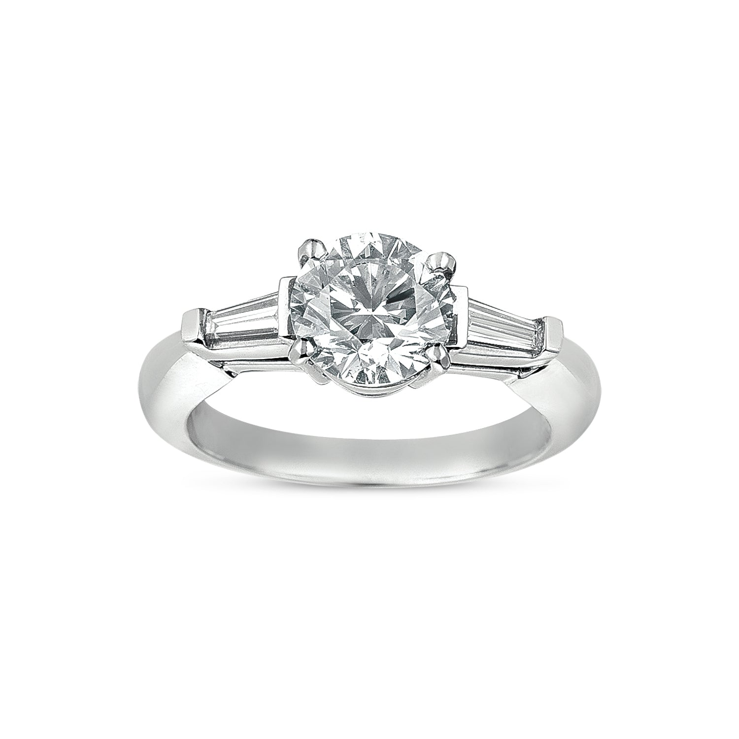 Diamond Ring with Tapered Baguettes, 18K White Gold