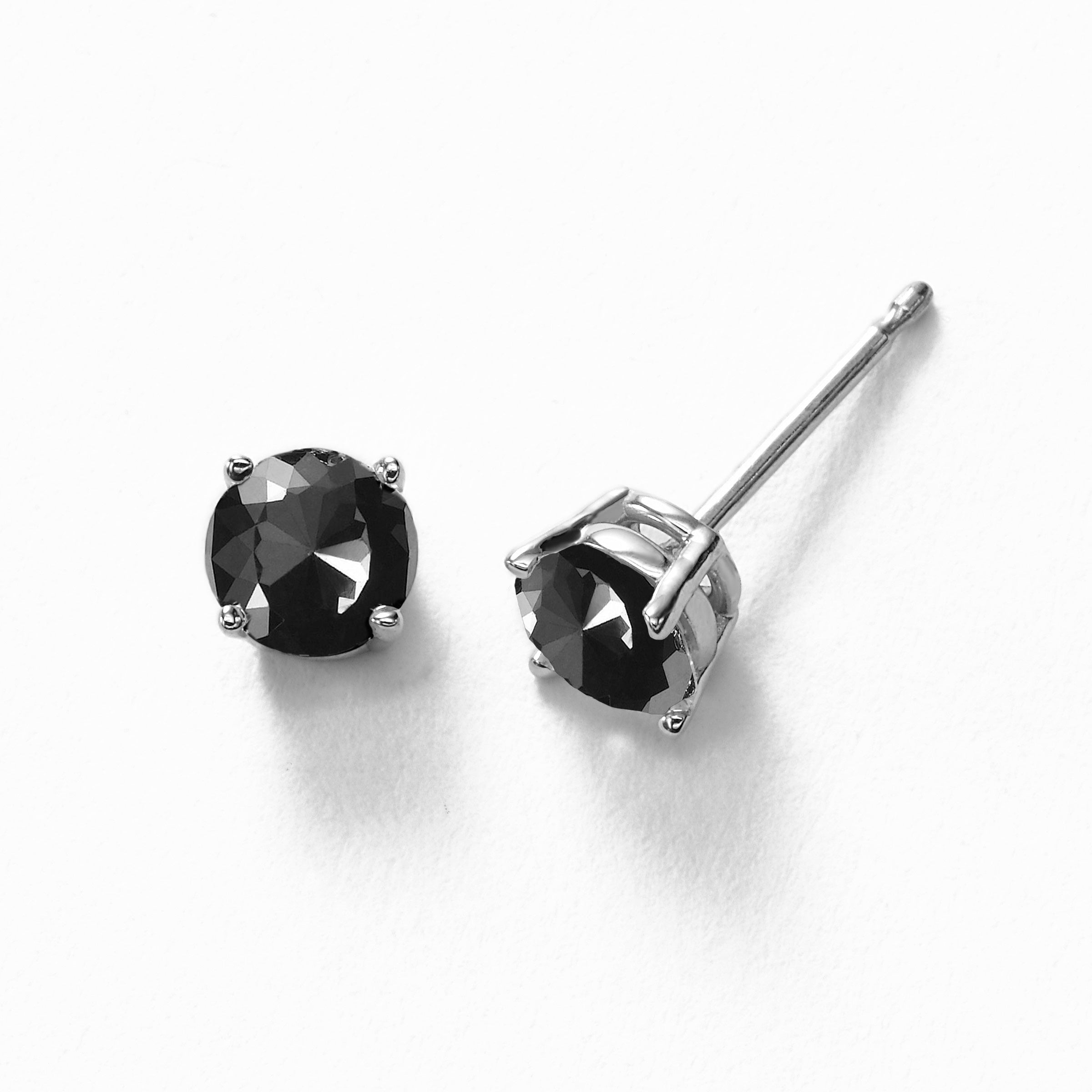 Black Diamond Stud Earrings, 5 MM, 1.00 Carats, 14K White Gold
