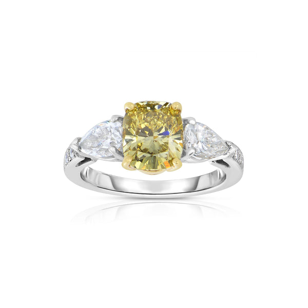 Natural Fancy Color Cushion Cut Diamond Ring, Platinum with 18 Karat Gold