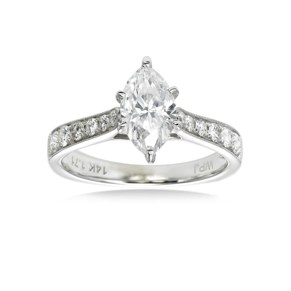 Marquise Shaped Diamond Engagement Ring, 1.22 Carats Center, 14K White Gold