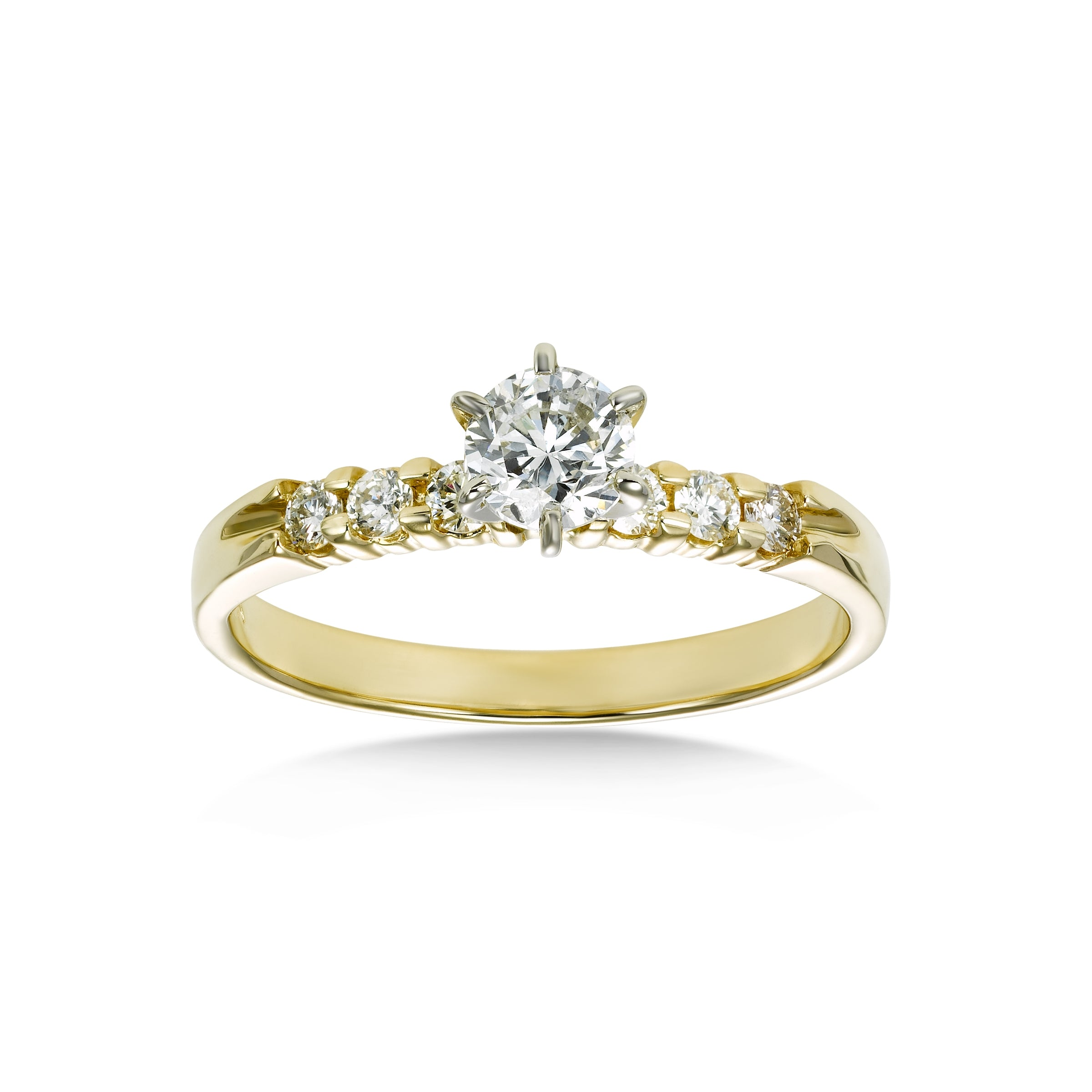 Mutual Prong Style Engagement Ring, .44 Carat Center, 14 Karat Gold