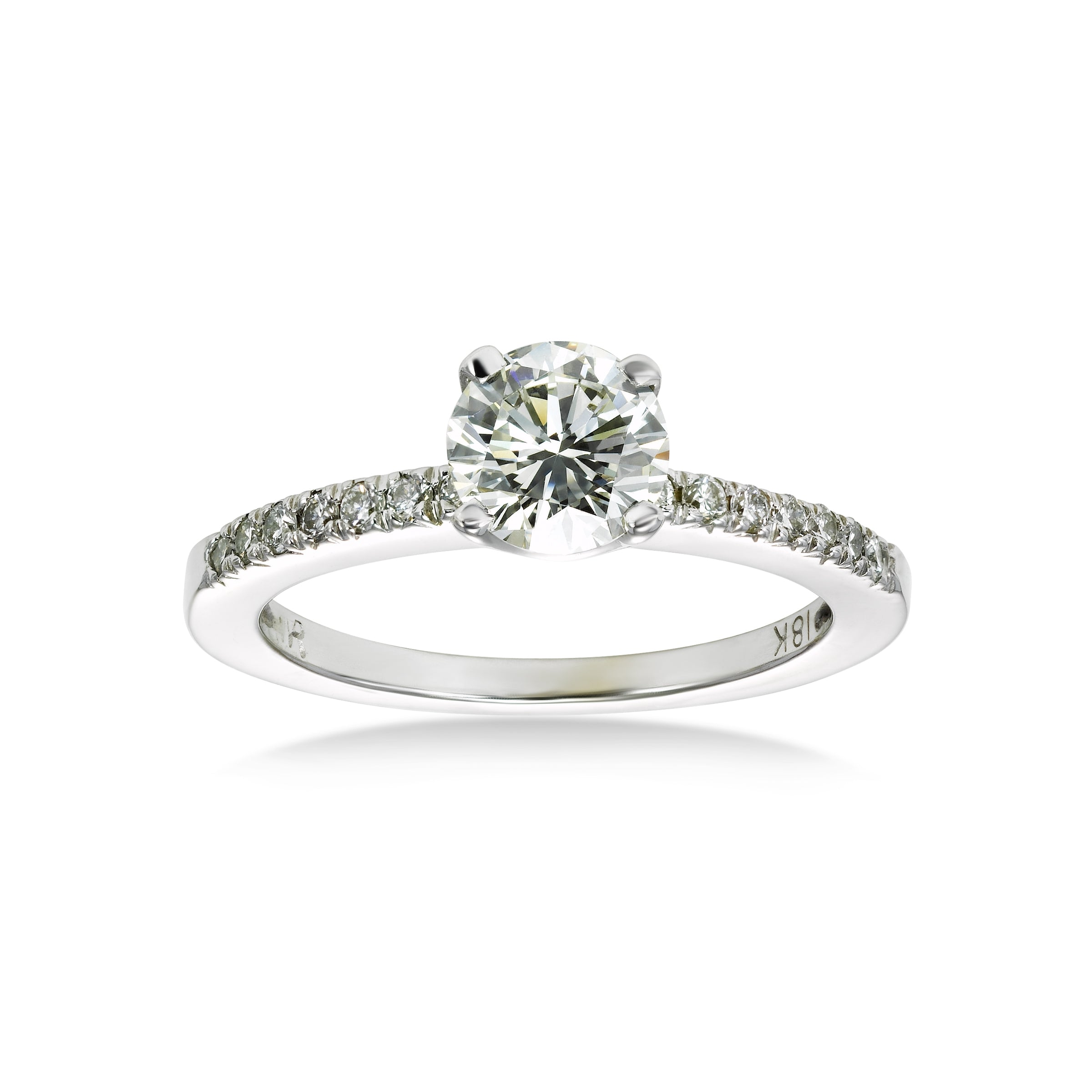 Round Diamond Engagement Ring, .79 Carat Center, 14K White Gold