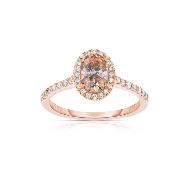 Fancy Brown Diamond Halo Engagement Ring, 14K Rose Gold