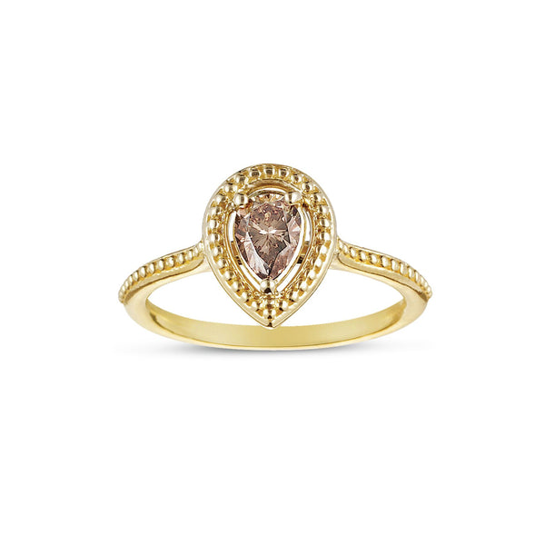 Pear Shape Fancy Brown Diamond Ring, 14K Yellow Gold