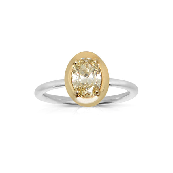 Oval Fancy Yellow Diamond Ring, 14K White Gold