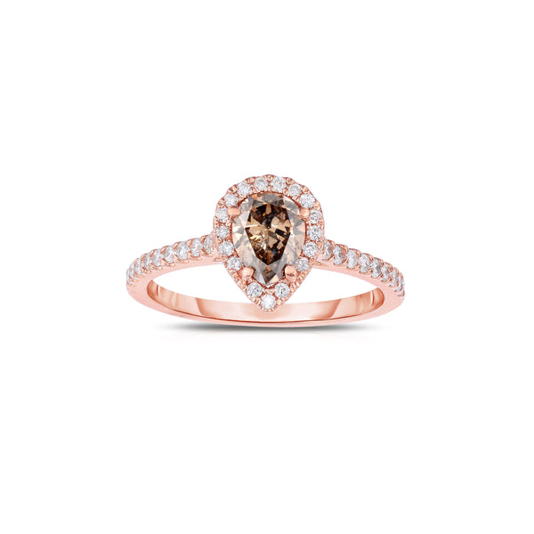 Pear Shape Fancy Brown Diamond Halo Ring, 14K Rose Gold