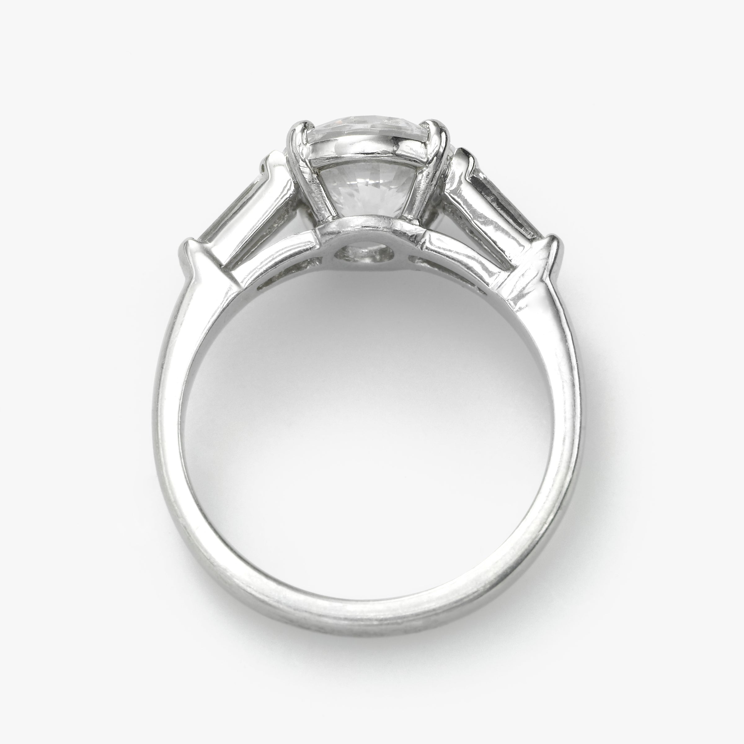 Round Diamond Ring with Tapered Baguettes, 18K White Gold